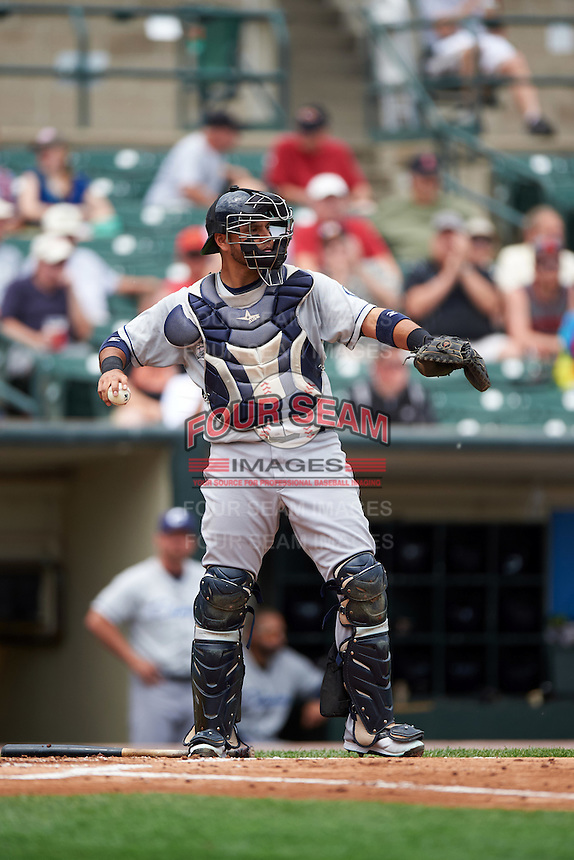 Columbus Clippers catcher Guillermo Quiroz (29) during a game against the Rochester Red Wings on June 16, 2016 at Frontier Field in Rochester, New York.  Rochester defeated Columbus 6-2.  (Mike Janes/Four Seam Images)