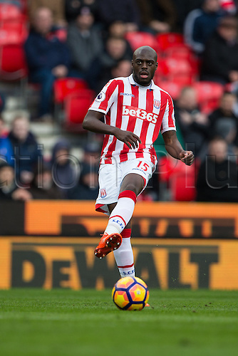 March 4th 2017,  bet365 Stadium, Stoke, England; EPL Premier League football, Stoke City versus Middlesbrough; Stoke's Bruno Martins Indi crosses the ball