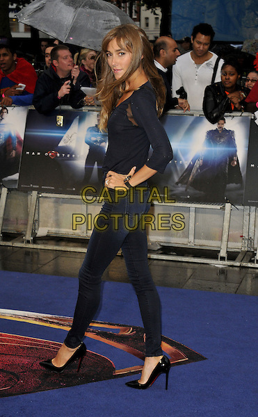 Jacqui Ainsley<br /> 'Man Of Steel' UK film premiere, Empire cinema, Leicester Square, London, England.<br /> 12th June 2013<br /> full length black top jeans denim hand on hip side <br /> CAP/DS<br /> &copy;Dudley Smith/Capital Pictures