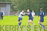 Ciarán O'Connor (Killorglin) in actiopn with Jamie Byrne (Tralee) on Sunday in a friendly with Killorglin v Tralee RFC at O'Dowd Park, Tralee.