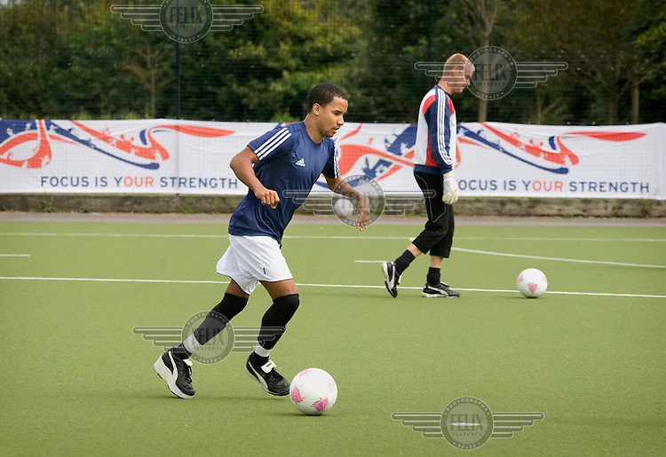 Martin Sinclair in training with Team GB's Paralympic football squad at The University of Bath.