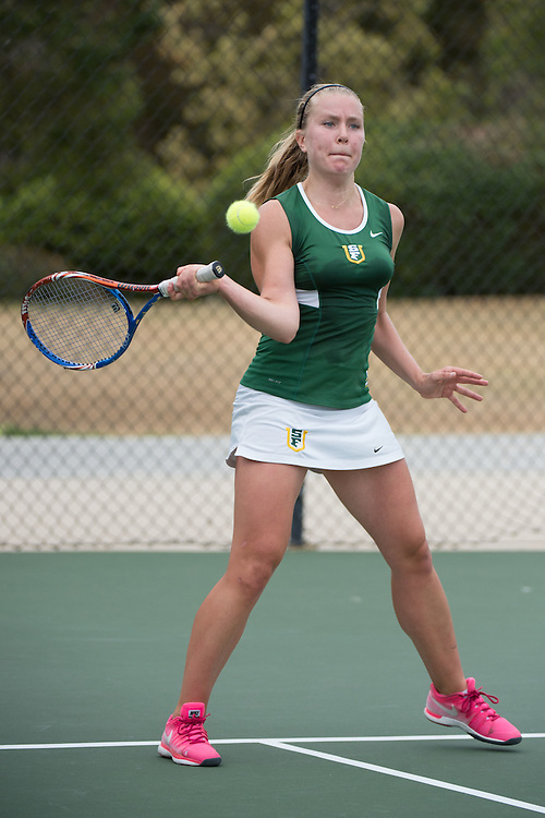 April 23, 2015; San Diego, CA, USA; San Francisco Dons tennis player Thyra Taune during the WCC Tennis Championships at Barnes Tennis Center.
