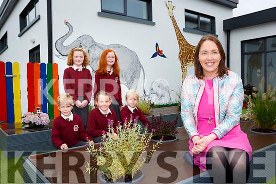 Principal Leona Twiss with Shane Sinnott, Muireann Hickey, Molly Moran, Roisin O'Mahony and Adam Sinnott in the new extension garden in Scoil Mhuire Gan Smal Castleisland on Monday