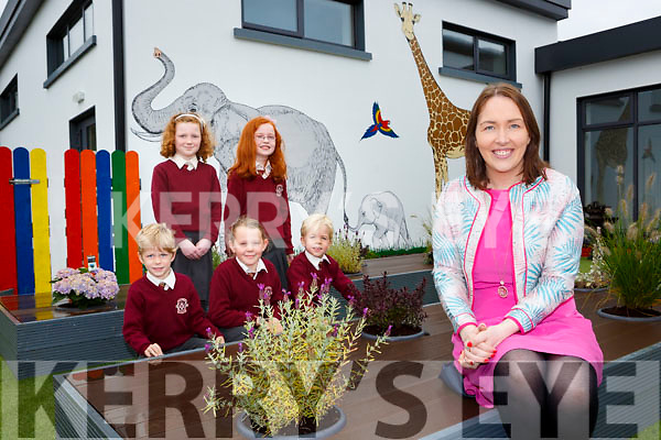 Principal Leona Twiss with Shane Sinnott, Muireann Hickey, Molly Moran, Roisin O'Mahony and Adam Sinnott in the new extension garden in Scoil Mhuire Gan Smal Castleisland on Monday