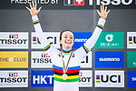 Elinor Barker of Great Britain celebrates winning in the Women's Points Race 25 km's prize ceremony during the 2017 UCI Track Cycling World Championships on 16 April 2017, in Hong Kong Velodrome, Hong Kong, China. Photo by Marcio Rodrigo Machado / Power Sport Images