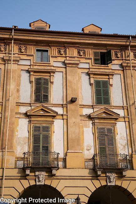 Facades on Repubblica Square in Turin - Torino in Italy