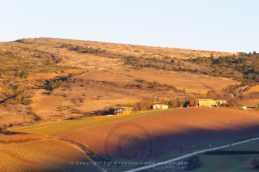 View of the vineyard and winery from afar. Domaine Jean Louis Denois. Limoux. Languedoc. France. Europe. Vineyard.