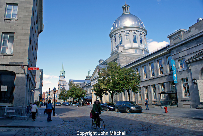 Rue Saint Paul and Bonsecours Market or Marche Bonsecour in Old Montreal, Quebec, Canada