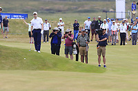 Russell Knox (SCO) prepares to play his 2nd shot on the playoff hole 18 during Sunday's Final Round of the 2018 Dubai Duty Free Irish Open, held at Ballyliffin Golf Club, Ireland. 8th July 2018.<br /> Picture: Eoin Clarke   Golffile<br /> <br /> <br /> All photos usage must carry mandatory copyright credit (&copy; Golffile   Eoin Clarke)