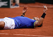 June 11th 2017, Roland Garros, paris, France; French Open tennis championship, mens singles final; Rafael Nadal versus Stan Wawrinka; Rafael Nadal (esp) reflects upon his win