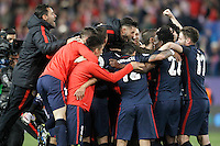 Atletico de Madrid's players celebrate the victory in the Champions League 2015/2016 Quarter-Finals. April 13,2016. (ALTERPHOTOS/Acero) <br /> Madrid 13/4/2016 Vicente Calderon <br /> Football Calcio 2015/2016<br /> Champions League Quarti di finale <br /> Atletico Madrid - Barcellona <br /> Foto Alterphotos / Insidefoto <br /> ITALY ONLY