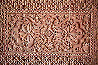 Fatehpur Sikri, Uttar Pradesh, India.  Floral Design in Wall,  Birbal's Palace, Residence of the Emperor's Senior Wives.