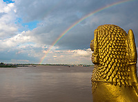 A Rainbow over the Mekong River at Phnom Penh River front, Cambodia.