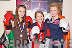 Kickboxers - Members of Tralee Kickboxing Club l/r Becky O'Connor, Tara McGinty and Naomi O'Brien who all took part in the IKF National Kickboxing Championship in Dublin on Nov 28th. Becky came 3rd in the U14 category, Tara 2nd in the U14s and Naomi beat the W.A.K.O. World Champion to take 1st place in The U16 65kg category.