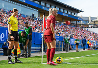 FRISCO, TX - MARCH 11: Alex Greenwood #3 of England prepares to take a corner kick during a game between England and Spain at Toyota Stadium on March 11, 2020 in Frisco, Texas.