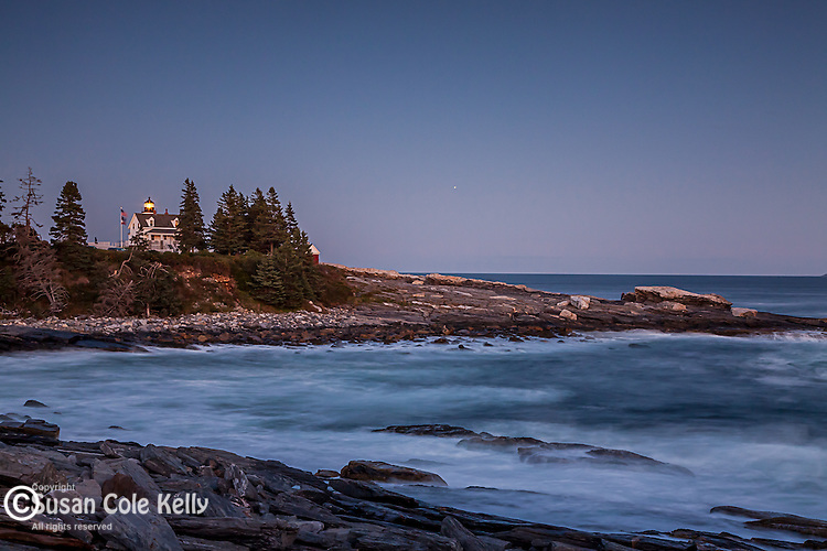 Moonlight at Pemaquid Point Light, Bristol, ME, USA