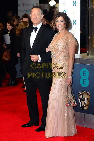 LONDON, ENGLAND - FEBRUARY 16: Tom Hanks and  Rita Wilson attend EE British Academy Film Awards (BAFTAs) at Royal Opera House, Covent Garden, on February 16, 2014, in London, England.  <br /> CAP/JOR<br /> &copy;Nils Jorgensen/Capital Pictures