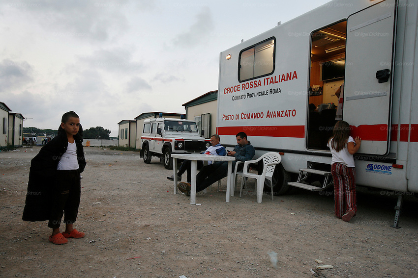 Roma Gypsies get ID cards from Red Cross, Castel Romano, near Rome, Italy