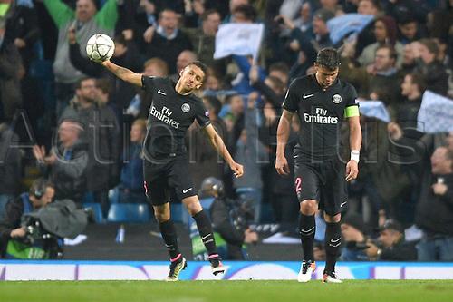 12.04.2016. manchester, England. UEFA Champions league, quarterfinals, second leg. Manchester City versus Paris St Germain.  THIAGO SILVA (psg) and MARQUINHOS (psg) dejected