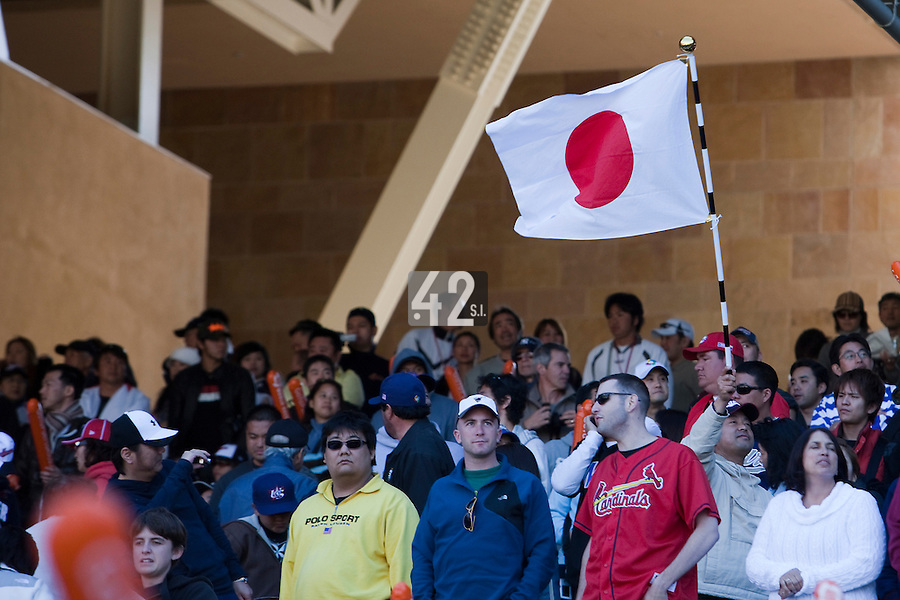 15 March 2009: A Japan national flag is waived by a fan of Japan during the 2009 World Baseball Classic Pool 1 game 1 at Petco Park in San Diego, California, USA. Japan wins 6-0 over Cuba.
