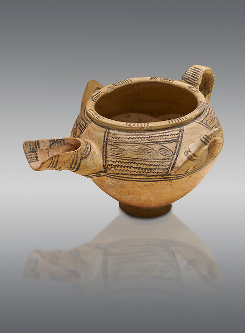 Decorated terra cotta tree handled vessel with a spout - 19th to 17th century BC - Kültepe Kanesh - Museum of Anatolian Civilisations, Ankara, Turkey. Against a grey background.