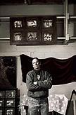USA, Utah, Bluff, portrait of artist JR Lancaster in his Cloudwatcher Studio