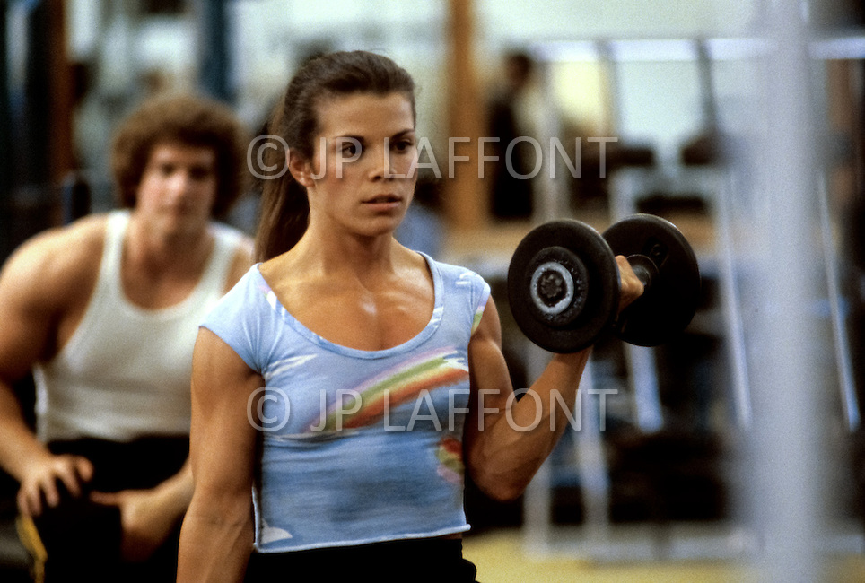 Los Angeles, April, 1981. Chris Glass, body building star, training.