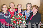 .FLOWRS: Kay O'Halloran who was the maker of the beautiful Christmas flower known as Winter Wonderland in on display at the Trallee Flower,Garden Club Flower Sale and a flowerdemonsatration in The Grand Hotel, Tralee on Monday night, and afterward proceeds to the women refgue Centre, L-r: Joy Frizelle (Camp-Tralee). Eileen Phelan, Kathleen Reidy (Chairperson) Phil Daly, and Kay O'Halloran (owner of Winter Wonderland).........