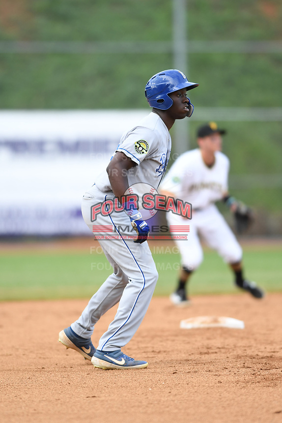 Burlington Royals David Hollie (23) takes a lead off second base during a game with the Bristol Pirates at Boyce Cox Field on June 19, 2019 in Bristol, Virginia. The Royals defeated the Pirates 1-0. (Tracy Proffitt/Four Seam Images)