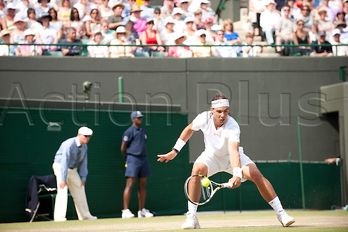 June 30th 2010: Wimbledon International Tennis Tournament held at the All England Lawn Tennis Club, London, England, Rafael Nadal of Spain playing Robin Soderling of Sweden in the mens singles quarter finals
