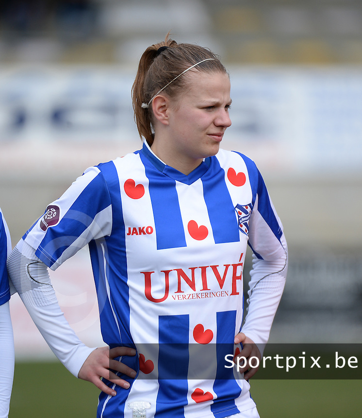 20140315 - WESTERLO , BELGIUM : Heerenveen Marieke De Boer pictured during the soccer match between the women teams of SK Lierse Dames  and SC Heerenveen Vrouwen , on the 19th matchday of the BeNeleague competition Saturday 15 March 2014 in Westerlo . PHOTO DAVID CATRY