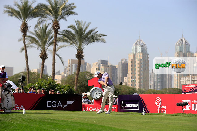 Bradley Dredge (WAL) on the 1st tee during Round 4 of the Omega Dubai Desert Classic, Emirates Golf Club, Dubai,  United Arab Emirates. 27/01/2019<br /> Picture: Golffile | Thos Caffrey<br /> <br /> <br /> All photo usage must carry mandatory copyright credit (© Golffile | Thos Caffrey)