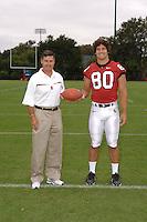 7 August 2006: Stanford Cardinal head coach Walt Harris and Erik Lorig during Stanford Football's Team Photo Day at Stanford Football's Practice Field in Stanford, CA.