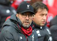 1st February 2020; Anfield, Liverpool, Merseyside, England; English Premier League Football, Liverpool versus Southampton; Liverpool manager Jurgen Klopp looks on from the dugout