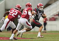 Hawgs Illustrated/BEN GOFF <br /> John Stephen Jones, Arkansas quarterback, runs the ball in the first quarter Saturday, April 6, 2019, during the Arkansas Red-White game at Reynolds Razorback Stadium.
