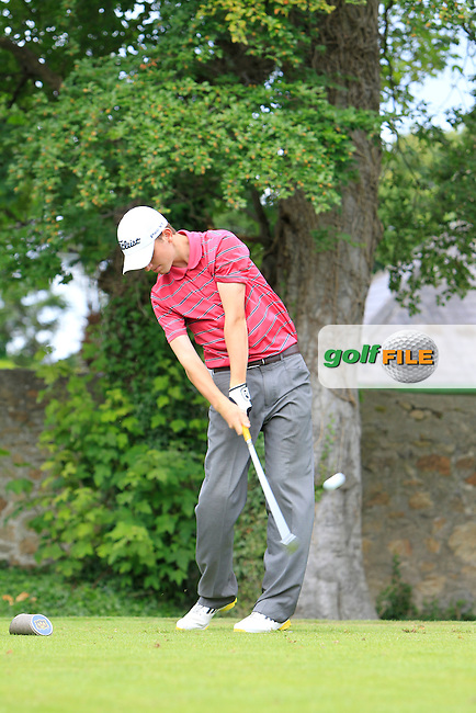 Mark Duignam (Slade Valley) on the 2nd tee during Round 1 of the Grange Dublin Boys on Monday 21th July 2014.<br /> Picture:  Thos Caffrey / www.golffile.ie