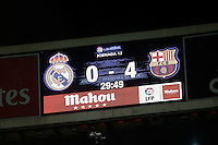 Scoreboard during 2015-16 La Liga match between Real Madrid and Barcelona at Santiago Bernabeu stadium in Madrid, Spain. November 21, 2015. (ALTERPHOTOS/Victor Blanco) /NortePhoto