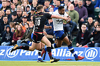 Aled Brew of Bath Rugby takes on the Saracens defence. Aviva Premiership match, between Saracens and Bath Rugby on April 15, 2018 at Allianz Park in London, England. Photo by: Patrick Khachfe / Onside Images