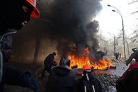Protesters burn tires in Maidan square. Kiev, Ukraine