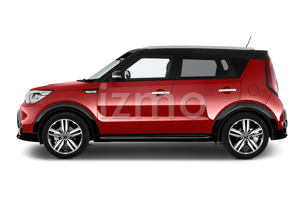 Car driver side profile view of a 2015 KIA Soul Max 5 Door Hatchback