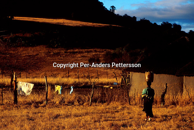 difaarg0002 .Industry. Farming. A farm worker carrying a container with water on her head outside her house on July 28, 2001, in Wakkerstroom, South Africa. Poverty. Huts, washing, environment, .©Per-Anders Pettersson/iAfrika Photos