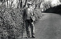 Elderly man in the countryside, Notts, UK 1991