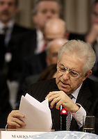 Il Presidente del Consiglio Mario Monti interviene alla sessione conclusiva della Nona Conferenza degli Ambasciatori, alla Farnesina, Roma, 21 dicembre 2012..Italian Premier Mario Monti speaks during the closing session of the 9th Conference of Ambassadors at the Italian Foreign Ministry headquarters in Rome, 21 December 2012. .UPDATE IMAGES PRESS/Riccardo De Luca
