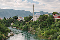Koski Mehmed Pasha Mosque, built in 1618, as seen from the Stari Most, Mostar.