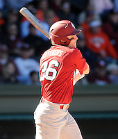 USC right fielder Adam Matthews (26) hits during a game between the Clemson Tigers and South Carolina Gamecocks Saturday, March 6, 2010, at Fluor Field at the West End in Greenville, S.C. Photo by: Tom Priddy/Four Seam Images