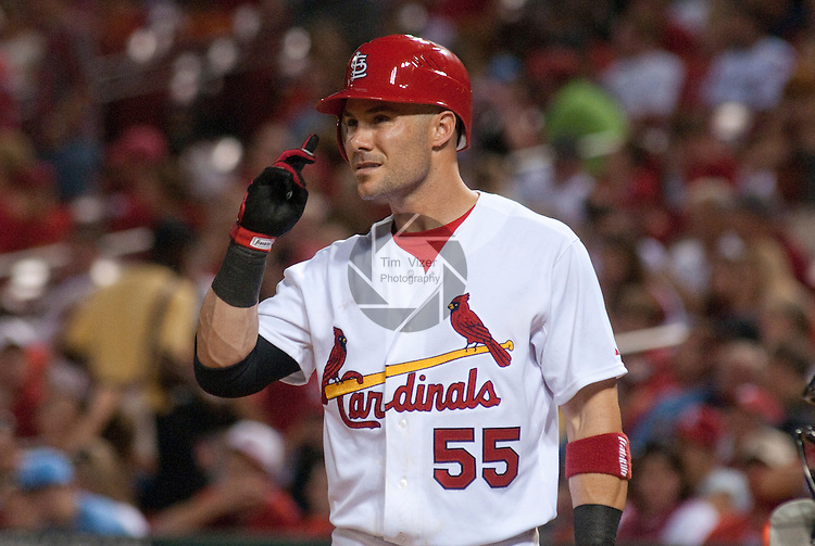 31 May 2011            St. Louis Cardinals second baseman Skip Schumaker (55) takes a moment  during a late at-bat. The St. Louis Cardinals defeated the San Francisco Giants 4-3 on Tuesday May 31, 2011 in the second game of a four-game series at Busch Stadium in downtown St. Louis.