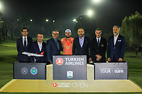 Tyrrell Hatton (ENG) with the officials at prize giving after the final round of the Turkish Airlines Open, Montgomerie Maxx Royal Golf Club, Belek, Turkey. 10/11/2019<br /> Picture: Golffile | Phil INGLIS<br /> <br /> <br /> All photo usage must carry mandatory copyright credit (© Golffile | Phil INGLIS)