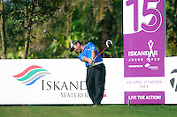 Chan Yih-shin (TPE) tees off on the 15th tee during Saturday's storm delayed conclusion of Round 2 of the Iskandar Johor Open 2011 at the Horizon Hills Golf Resort Johor, Malaysia, 19th November 2011 (Photo Eoin Clarke/www.golffile.ie)
