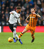9th February 2019, Pride Park, Derby, England; EFL Championship football, Derby Country versus Hull City; Kamil Grosicki of Hull City looks back as he takes on Jayden Bogle
