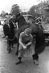 Appleby in Westmorland Horse fair Cumbria. 1981 Blacksmith shoeing a horse. 1981